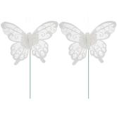 White Glitter Mesh Butterflies
