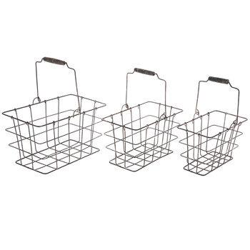 Rustic Rectangle Metal Basket Set With Handles
