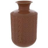 Coral Leaf Embossed Metal Vase