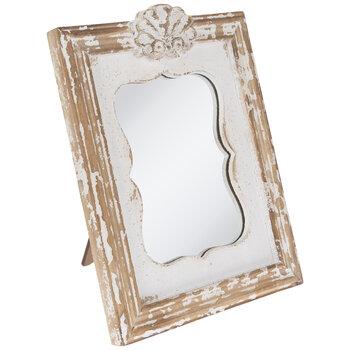 Whitewash Quatrefoil Wood Mirror