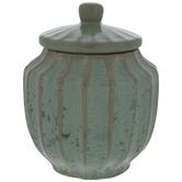 Green & Brown Striped Jar