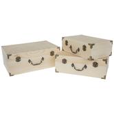 Wood Box Set With Antique Hardware