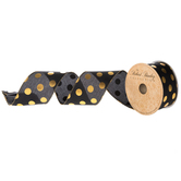 "Black & Gold Polka Dot Wired Edge Satin Ribbon - 2 1/2"""
