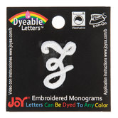 White Embroidered Script Letter Iron-On Applique - Z