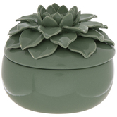 Green Succulent Flower Jewelry Box