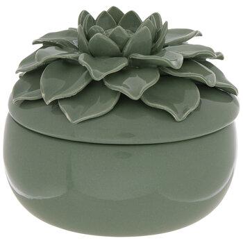 Green Succulent Flower Jewelry Box