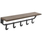 Wood Wall Shelf With Sliding Hooks