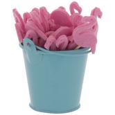 Flamingo Wood Picks In Blue Bucket