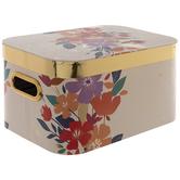 Metallic Gold Floral Rectangle Box