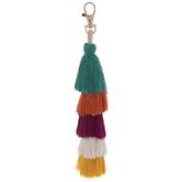 Layered Fabric Tassel Keychain
