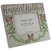 """Happiest Holidays Wood Frame - 6"""" x 4"""""""