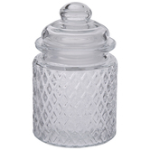 Diamond Embossed Glass Jar