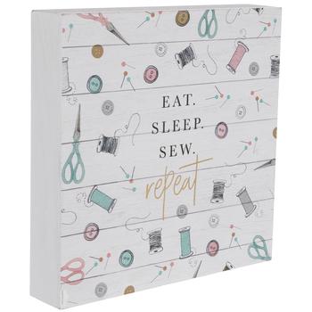 Eat Sleep Sew Repeat Wood Decor