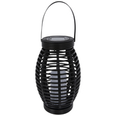 Light Up Black Basket Lantern
