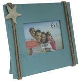 "Blue Rope & Starfish Wood Frame - 6"" x 4"""