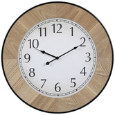 Framed Round Wood Wall Clock