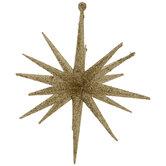 Gold Glitter Starburst Ornaments