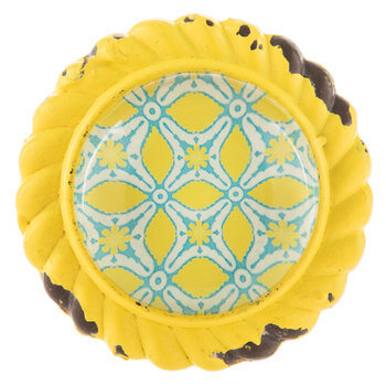 Yellow Metal Knob With Geometric Print