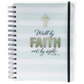 Walk By Faith Striped Spiral Journal