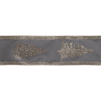 """Gray & Champagne Christmas Tree Wired Edge Ribbon - 2 1/2"""""""