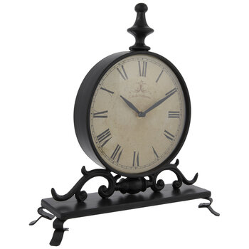 Black Metal Clock With Stand