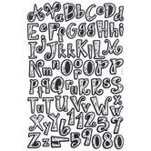 Black & White Whimsical Chalk Alphabet Stickers