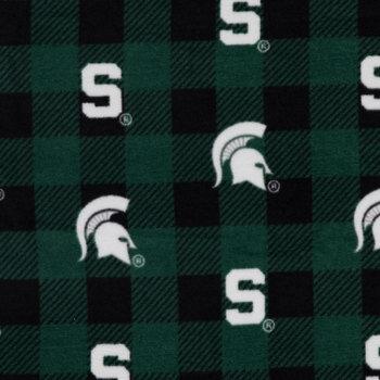Michigan State Allover Collegiate Fleece Fabric