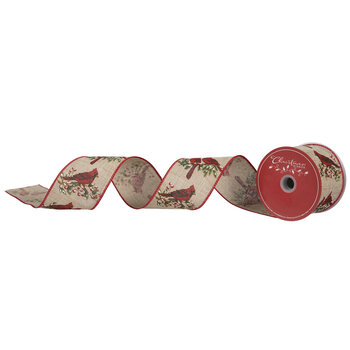 """Cardinals On Branch Wired Edge Ribbon - 2 1/2"""""""
