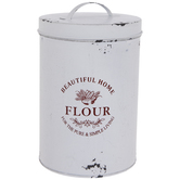 Antique White Flour Metal Canister