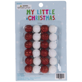 Red & White Round Glitter Mini Ball Ornaments
