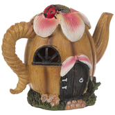 Teapot House With Flower & Ladybug
