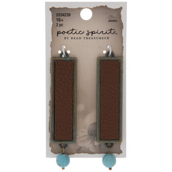 Brown Imitation Leather Rectangle Pendants