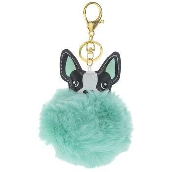 Mint Fuzzy Pom Pom French Bulldog Keychain