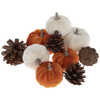 Orange & White Velvet Pumpkins & Pinecones