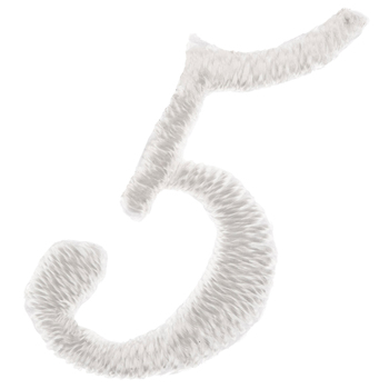 White Number Iron-On Applique 5 - Small