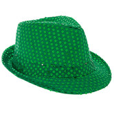Green Light Up Sequin Fedora
