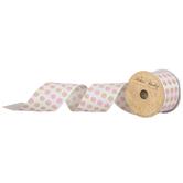 "Pink & Green Polka Dot Wired Edge Ribbon - 1/2"""