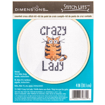 Crazy Cat Lady Counted Cross Stitch Kit