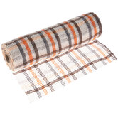 "White, Brown & Orange Plaid Deco Mesh Ribbon - 10"""