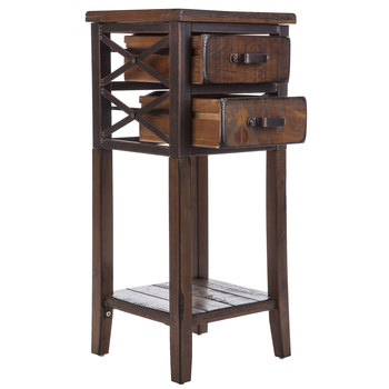 Antique Brown Criss-Cross Side Table