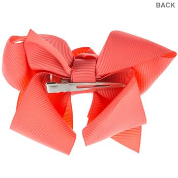 Coral Grosgrain Bow Hair Clip
