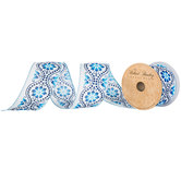 """White & Blue Floral Swirl Wired Edge Ribbon - 2 1/2"""""""