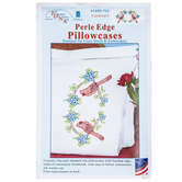 Cardinals Perle Edge Cross Stitch Pillowcase Kit