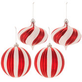 Red & White Striped Ball & Onion Ornaments
