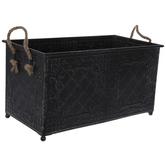 Antique Black Embossed Metal Container