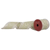"""Gold Dots & Stripes Wired Edge Ribbon - 3 1/2"""""""