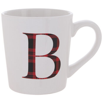 Red Plaid Letter Mug