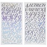 Iridescent Calligraphy Alphabet Stickers