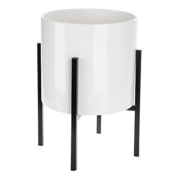White Cylinder Flower Pot With Stand