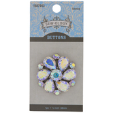 Flower Rhinestone Shank Button - 38mm